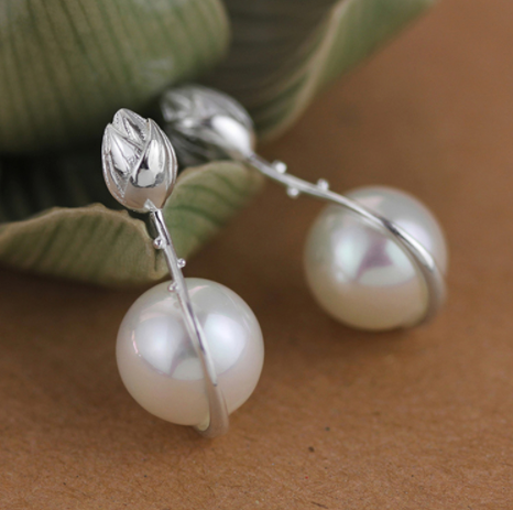 """Perla"" Sterling Silver and Natural Pearl Lotus Flower Dangle Earrings"