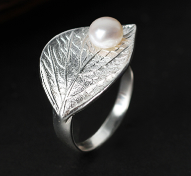 """Perla"" Sterling Silver and Natural Pearl Leaf Ring"