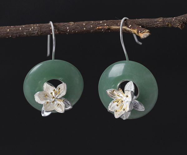 """Perla"" Collection: Sterling Silver & Aventurine Drop Earrings"