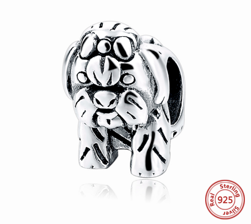 Sterling Silver Cute Shih Tzu Dog Charm (Get a Bracelet Separately with a Discount)