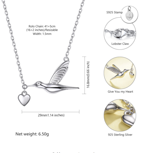 Sterling Silver Hummingbird & Heart Necklace
