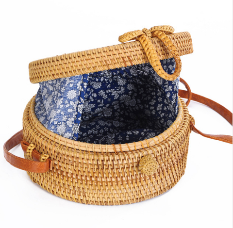 """Hello Sunshine"" Trendy Round Straw Handbag"
