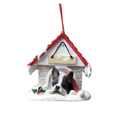 Sleeping Boston Terrier Christmas Ornament - Personalized Option