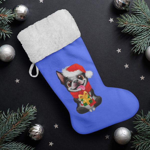 Festive Boston Terrier Christmas Stocking (Blue)