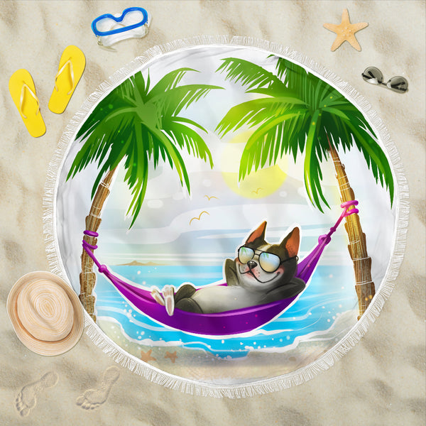 Adorable Boston Terrier in the Hammock Beach Blanket
