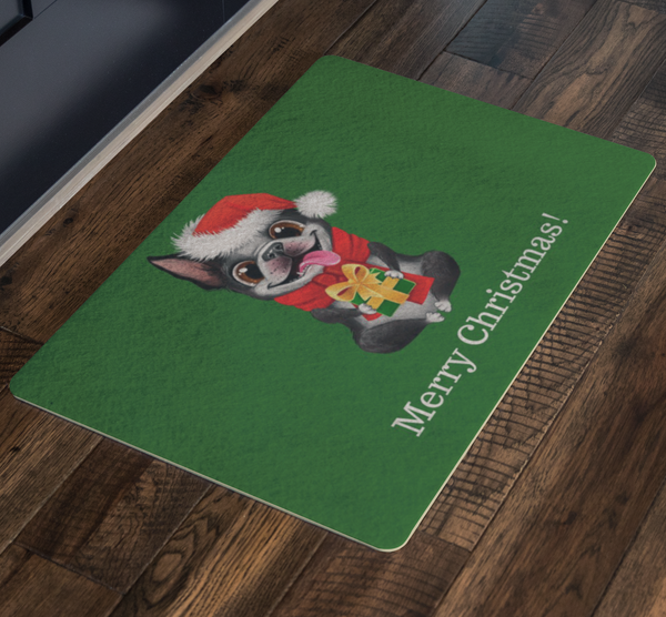 Festive Boston Terrier Christmas Doormat