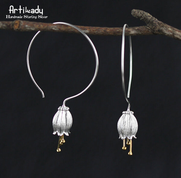 Elegant Bell Flower Sterling Silver Earrings