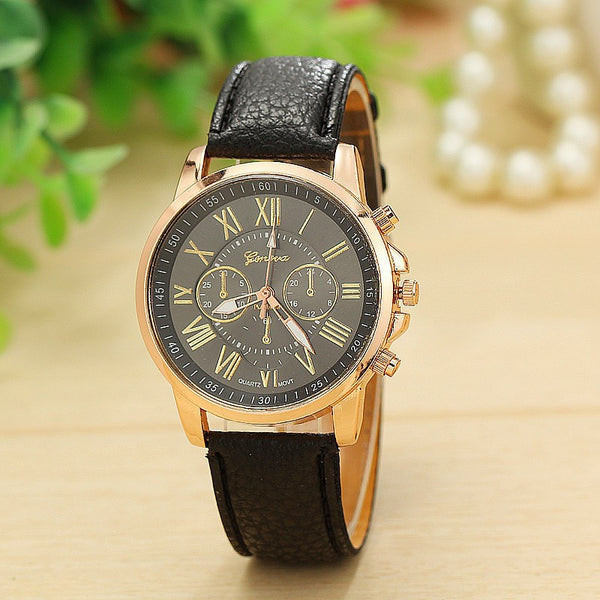 Stylish Rose Gold Roman Numerals Watch