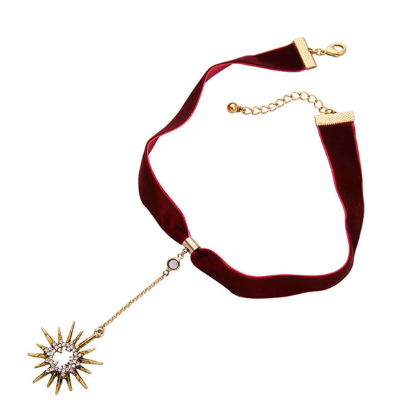 Red Velvet Choker Necklace with Sun Pendant