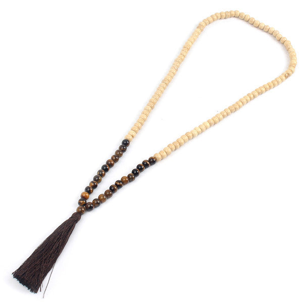 """Allegra Collection"" Original Mala Beads Necklace - Wood & Stone Combination"