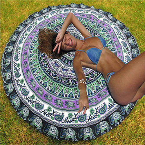 Elephant Mandala Round Beach Towel/Decorative Tapestry