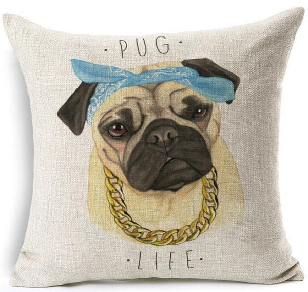 Cute Pug Pillow Cases: Hugging Pugs, Yoga Poses