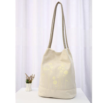 Floral Print Canvas Shoulder Handbag