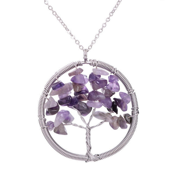 Spring Sale! Colorful Amethyst Tree of Life Pendant