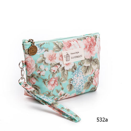 Floral Print Cosmetic Travel Pouch