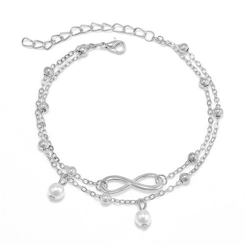 Silver Plated Pearl and Infinity Charm Anklet