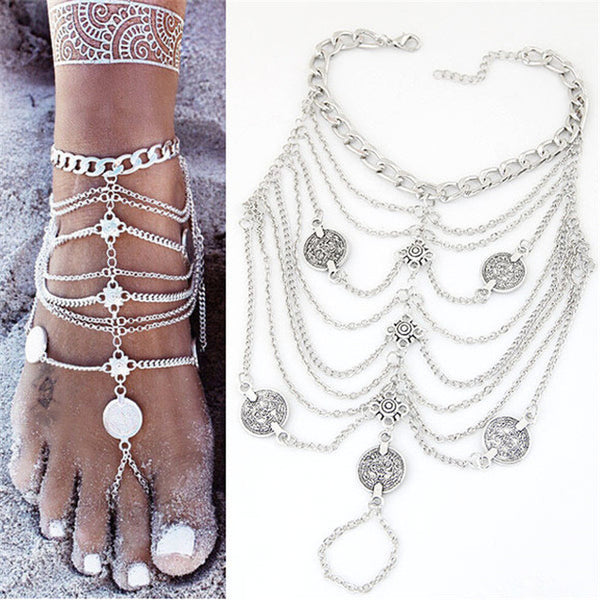 Bohemian Coin and Chain Anklet