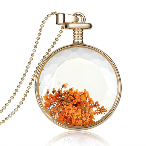 Dried Flowers Vintage Glass Pendant