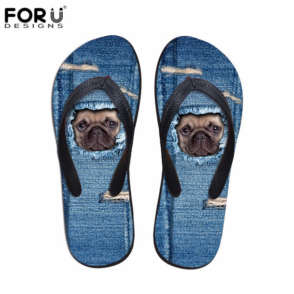 Cute Pug Denim Pattern Flip Flops