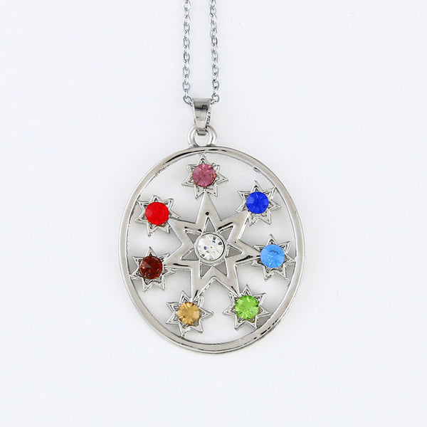 Silver Plated 7 Chakra Crystal Pendants