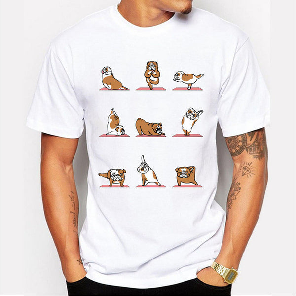 Cute English Bulldog Yoga Poses Unisex T-shirt