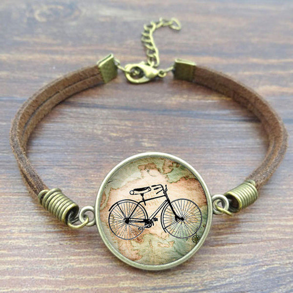 Vintage Bicycle & Map Glass Bracelet