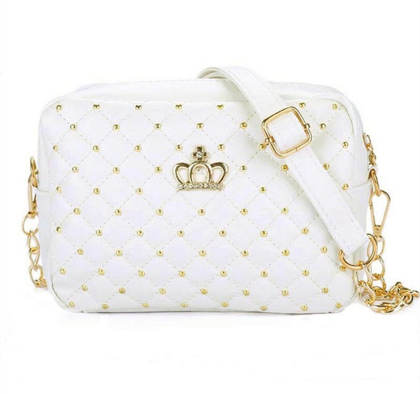 Stylish Crossbody Shoulder Bag - Cross Stitching and Crown Design