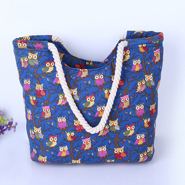 Colorful Pattern Canvas Beach Bags