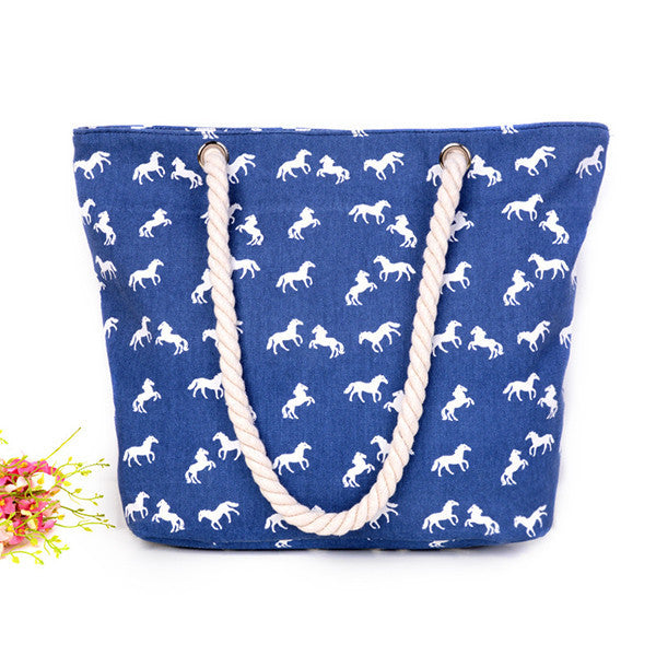 Large Canvas Beach Bag - Elephant Pattern