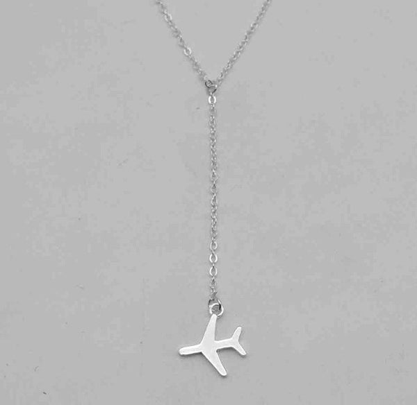 Silver Plated Adjustable Airplane Pendant