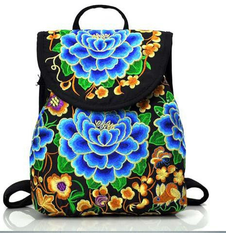 ***Floral Embroidered Canvas Backpack