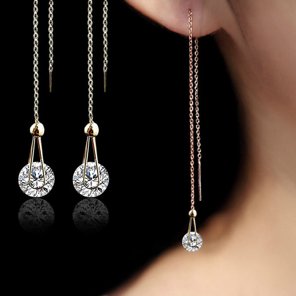 Chain Crystal Drop Stud Earrings - Rose Gold and Silver Plated