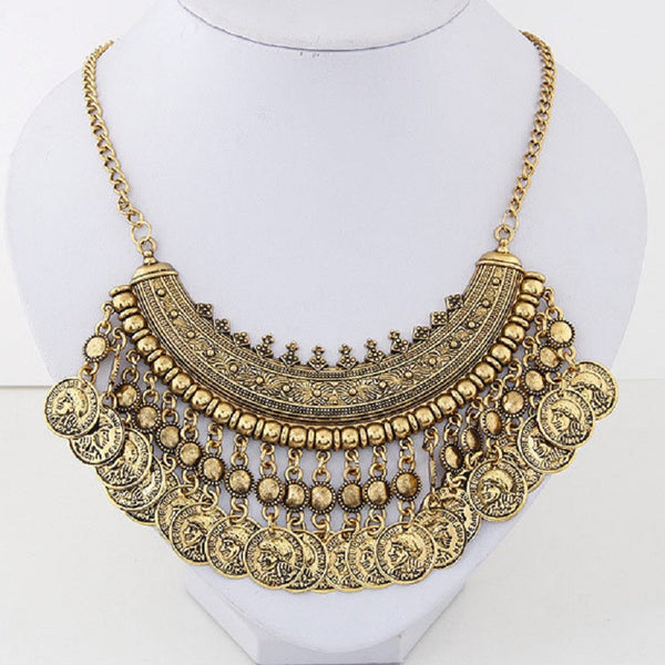 Bohemian Long Tassel Coin Necklace