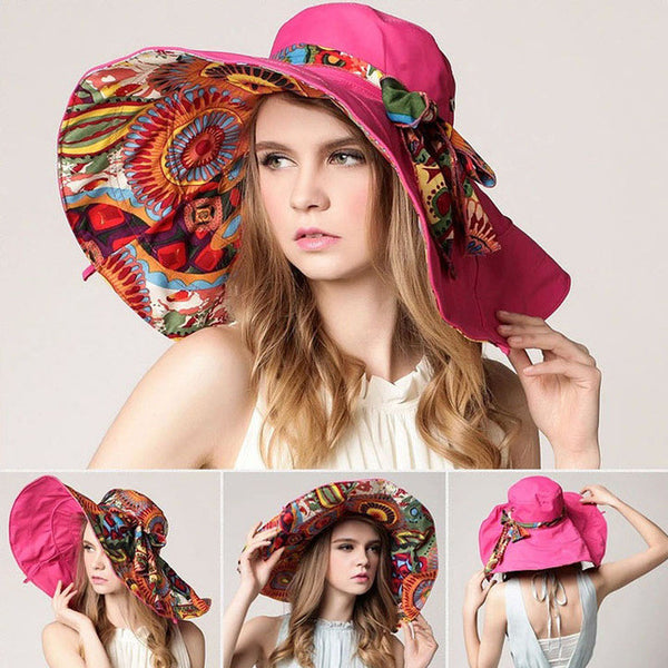 Foldable Floral Pattern Wide Brimmed Sun Hat