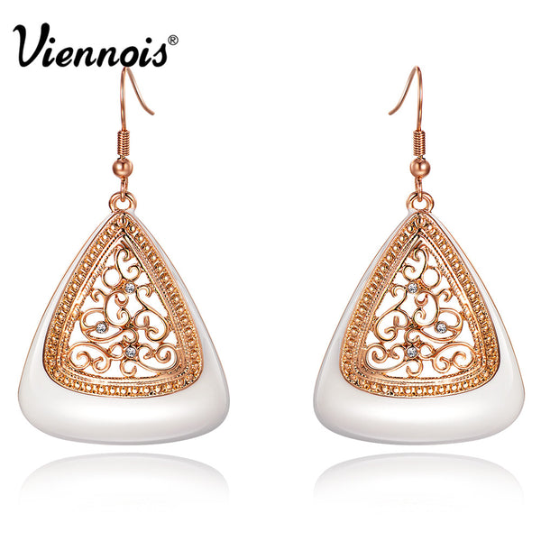 Rose Gold Plated Geometrical Dangle Earrings with Austrian Crystal