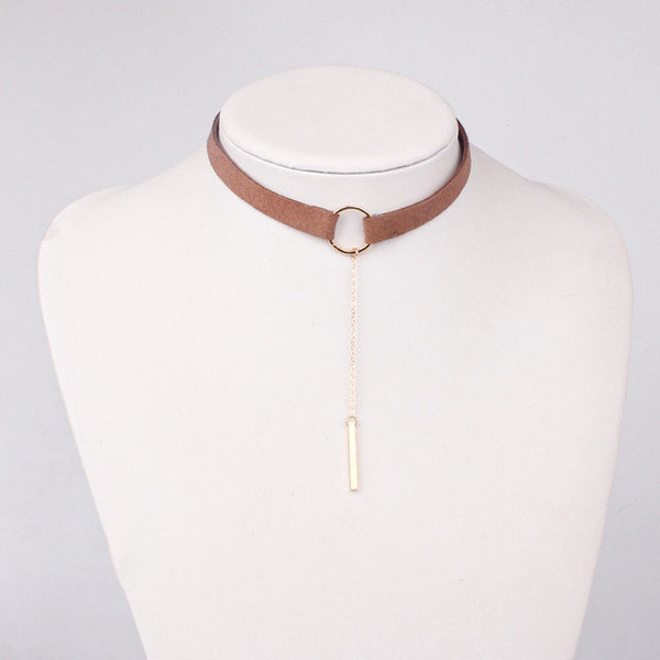 Leather Choker Necklace with Gold Plated Pendant