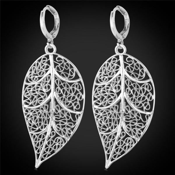 Silver and Gold Plated Drop Leaf Earrings