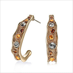 Gold Plated Stud Earrings with Austrian Crystal