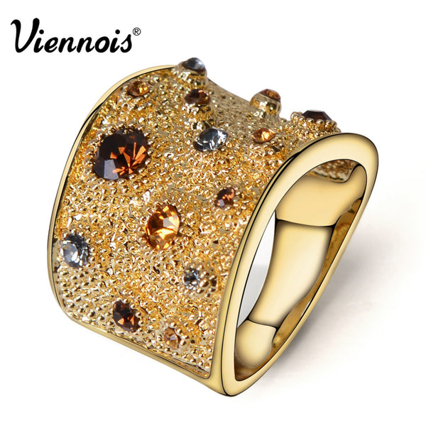 Wide Gold Plated Ring with Austrian Crystal
