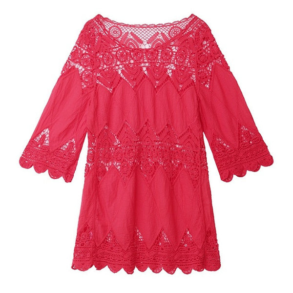 **Elegant Crochet and Lace Beach Tunic