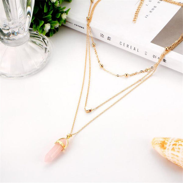Gold Plated Natural  Crystal Heart Choker Necklace (Multiple Colors Available)