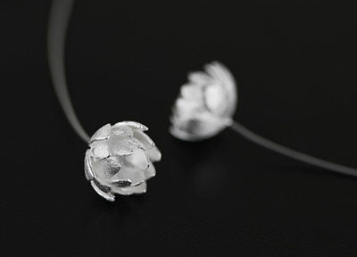 Lotus Flower And Hanging Chain Stud Sterling Silver Earrings