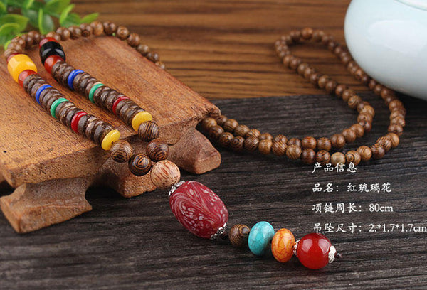 """Allegra Collection"" Handmade Ethnic Wooden Mala Beads Necklace"