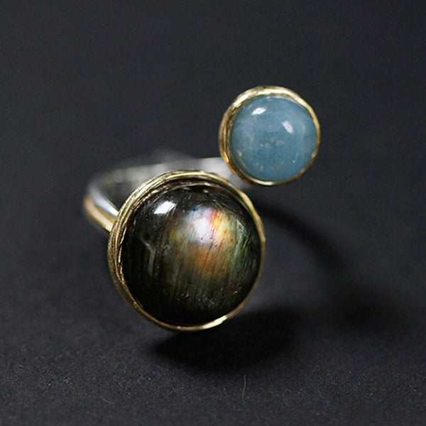 """Perla"" Collection: Sterling Silver Natural Labradorite & Moonlight Stone Ring"