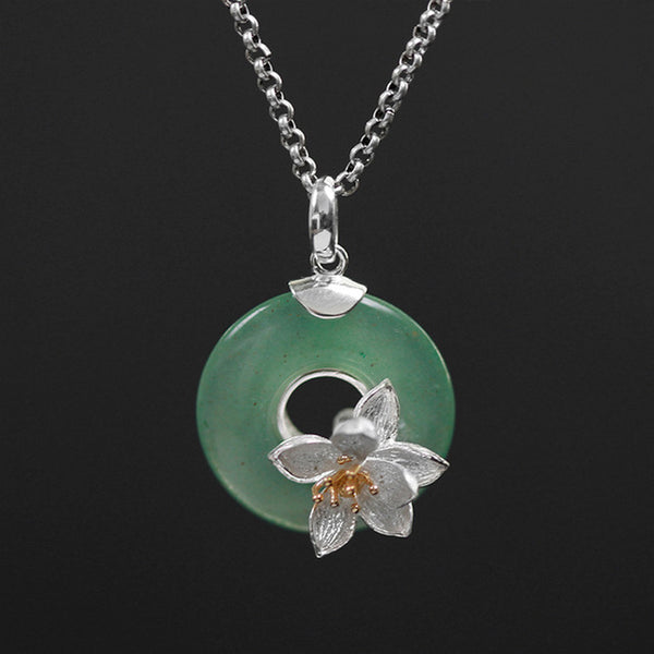 """Perla"" Collection: Sterling Silver & Aventurine Handmade Pendant (without Necklace)"