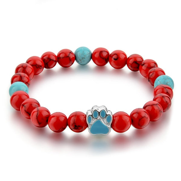 Adorable Natural Stone Mala Bead Bracelets with Dog Paw Charm