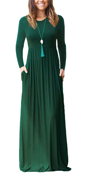 """Allegra Collection"" Long Sleeve Maxi Dress With Pockets"