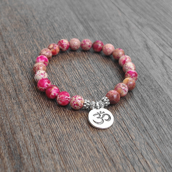 """Shanti"" Natural Stone Pink Mala Bead Bracelet. Valentine's Special"
