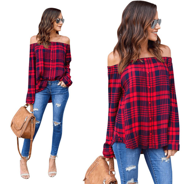 Hot Girl Collection: Trendy Plaid Off the Shoulder Blouse