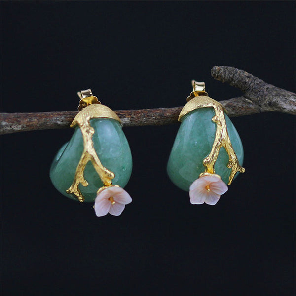 """Perla"" Collection:  Sterling Silver Natural & Aventurine Original Handmade Flower Stud Earrings"